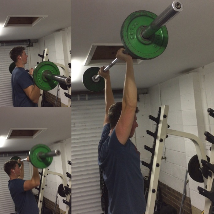 method golf fitness exercise barbell shoulder press