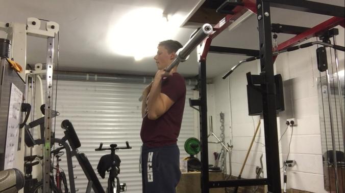 Golf exercise shoulder press